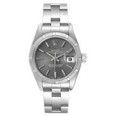 Rolex Date Oyster Bracelet Gray Tapestry Dial Steel Ladies Watch 69190
