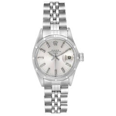 Rolex Date Silver Baton Dial Automatic Steel Ladies Watch 6519