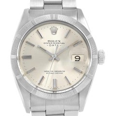 Rolex Date Silver Dial Steel Vintage Men's Watch 15010 Box Papers NOS