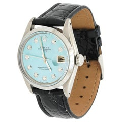 Rolex Date SS Automatic Men's Watch w/ Amazing Blue MOP Diamond Dial