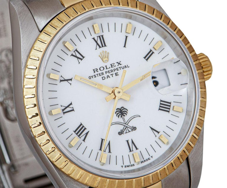 Men's Rolex Date Stainless Steel and 18 Karat Gold White Saudi Arabian Crest Dial For Sale