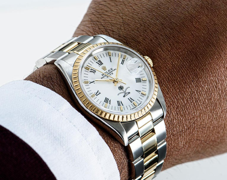 Rolex Date Stainless Steel and 18 Karat Gold White Saudi Arabian Crest Dial For Sale 4