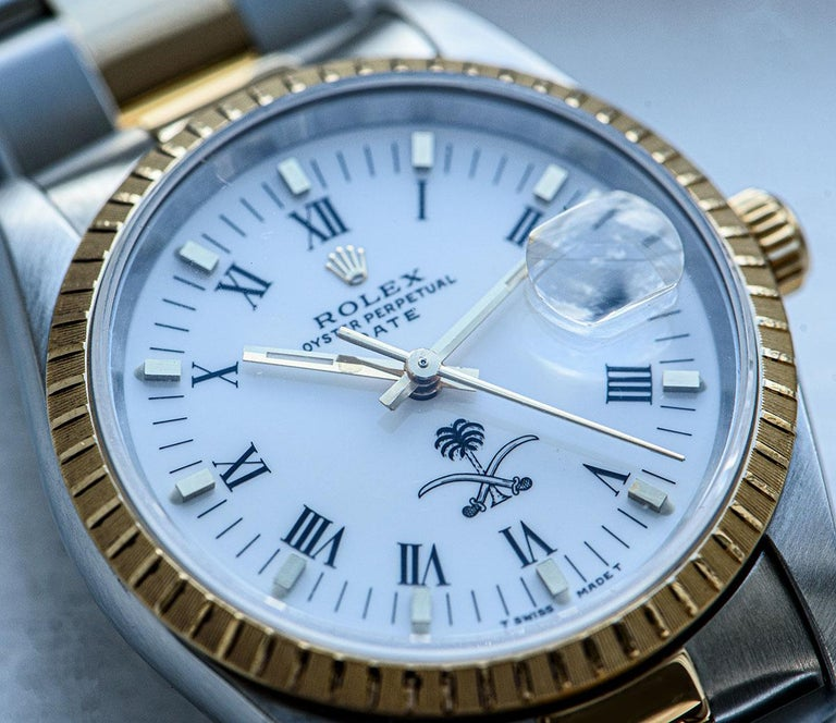 Rolex Date Stainless Steel and 18 Karat Gold White Saudi Arabian Crest Dial For Sale 5