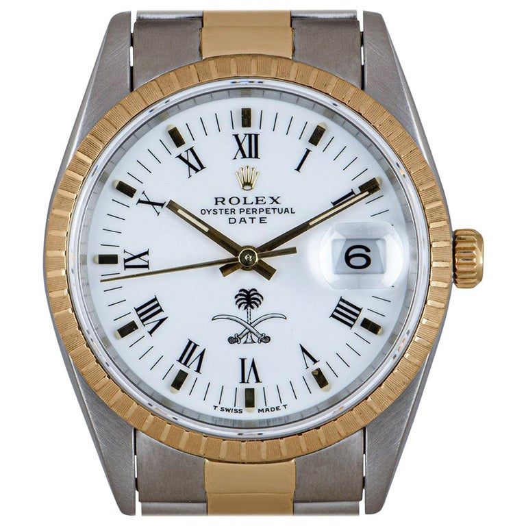 Rolex Date Stainless Steel and 18 Karat Gold White Saudi Arabian Crest Dial For Sale
