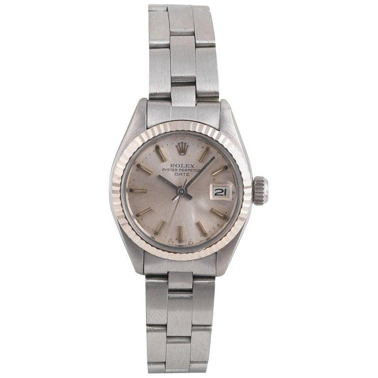 Rolex Date Stainless Steel Automatic Calendar Bracelet Watch, circa 1980 For Sale