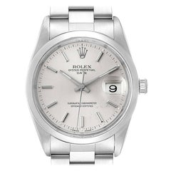 Rolex Date Stainless Steel Silver Dial Men's Watch 15000