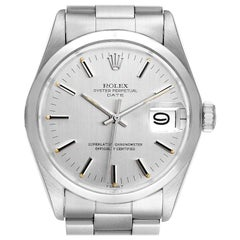 Rolex Date Stainless Steel Silver Dial Vintage Men's Watch 1500 Papers
