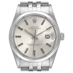 Rolex Date Stainless Steel Silver Dial Vintage Men's Watch 15000