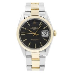 Rolex Date Steel 18 Karat Gold Black Sticks Dial Automatic Men's Watch 1500