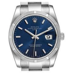 Rolex Date Steel Blue Dial Oyster Bracelet Automatic Men's Watch 115210