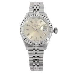 Rolex Date Steel Custom Diamond Bezel Silver Dial Ladies Watch 6917