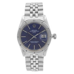 Rolex Date Steel Engine Turned Bezel Blue Dial Automatic Mens Watch 1501