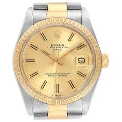 Rolex Date Steel Yellow Gold Vintage Men's Watch 1505 Box Papers