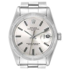 Rolex Date Vintage Silver Baton Dial Stainless Steel Men's Watch 1501