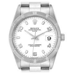 Rolex Date White Dial Engine Turned Bezel Steel Men's Watch 15210 Box