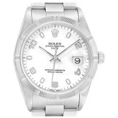 Rolex Date White Dial Engine Turned Bezel Steel Men's Watch 15210