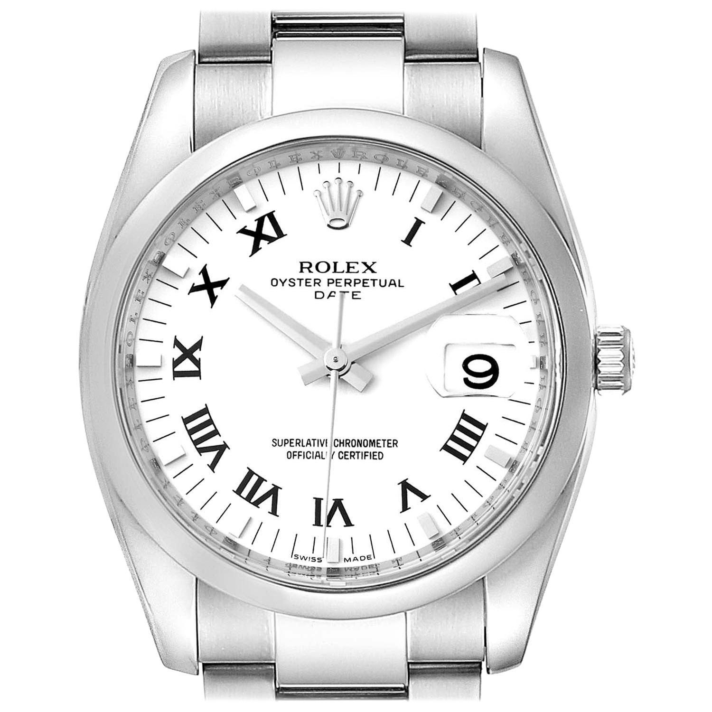 Rolex Date White Dial Oyster Bracelet Steel Men's Watch 115200