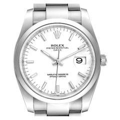 Rolex Date White Dial Oyster Bracelet Steel Mens Watch 115200 Unworn