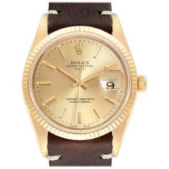 Rolex Date Yellow Gold Brown Strap Men's Watch 15238