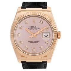 Rolex Datejust 116135 18 Karat Rose Gold Diamond Dial Automatic Watch