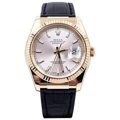 Rolex Datejust 116138 Silver Dial 18 Karat Yellow Gold Box Papers