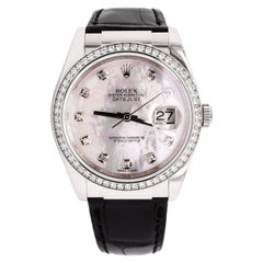 Rolex Datejust 116189 White Gold, Factory Mother of Pearl Diamond Dial and Bezel