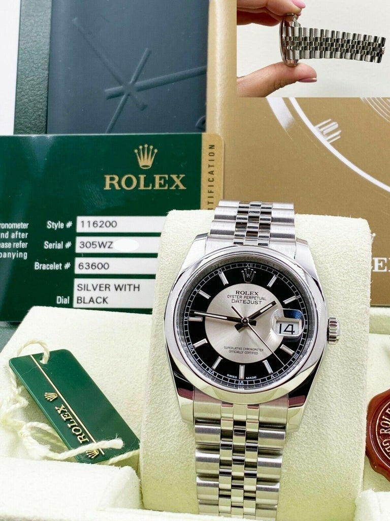 Style Number: 116200     Serial: 305WZ***   Year: 2013     Model: Datejust      Case Material: Stainless Steel     Band: Stainless Steel     Bezel:  Stainless Steel     Dial: Tuxedo      Face: Sapphire Crystal      Case Size: 36mm     Includes: