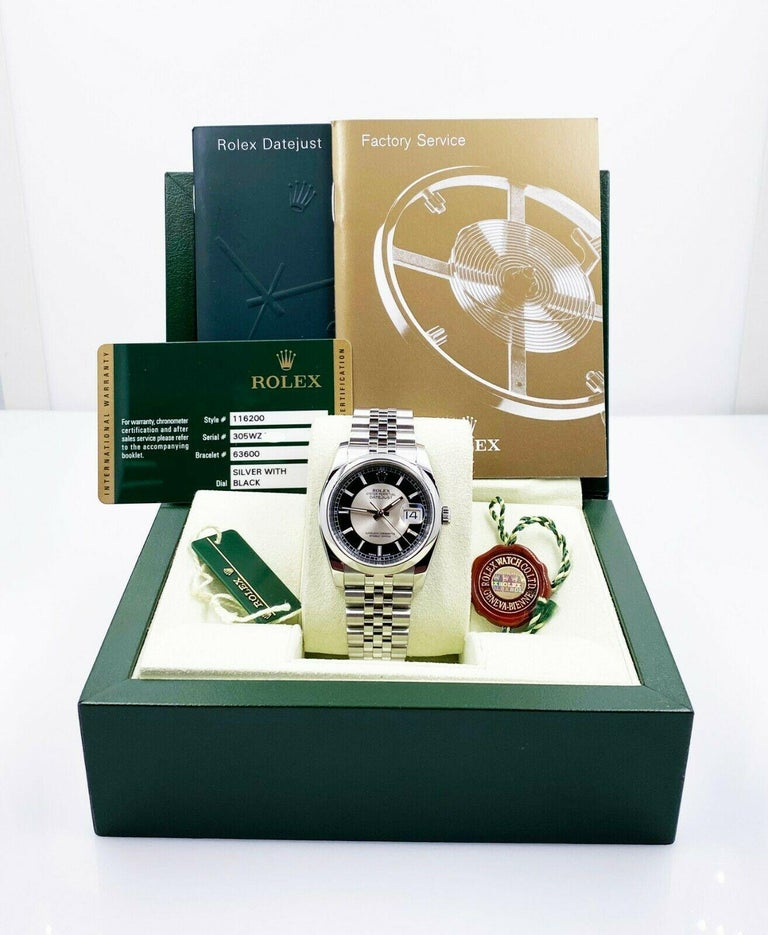 Rolex Datejust 116200 Tuxedo Dial Stainless Steel Box Papers, 2013 For Sale 3