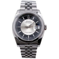 Rolex Datejust 116200 Tuxedo Dial Stainless Steel Box Papers, 2013
