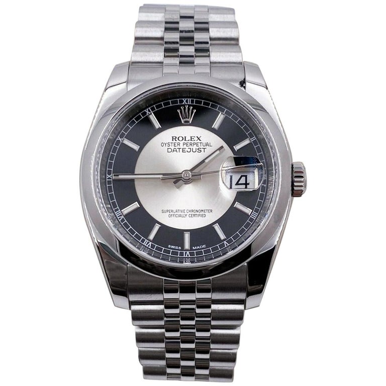 Rolex Datejust 116200 Tuxedo Dial Stainless Steel Box Papers, 2013 For Sale