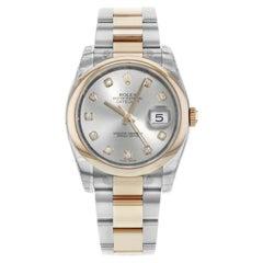 Rolex Datejust 116201 18 Karat Gold Diamond Silver Dial Automatic Men's Watch