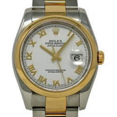 Rolex Datejust 116203 Stainless Steel Yellow Gold White 2004 2 Year Warranty