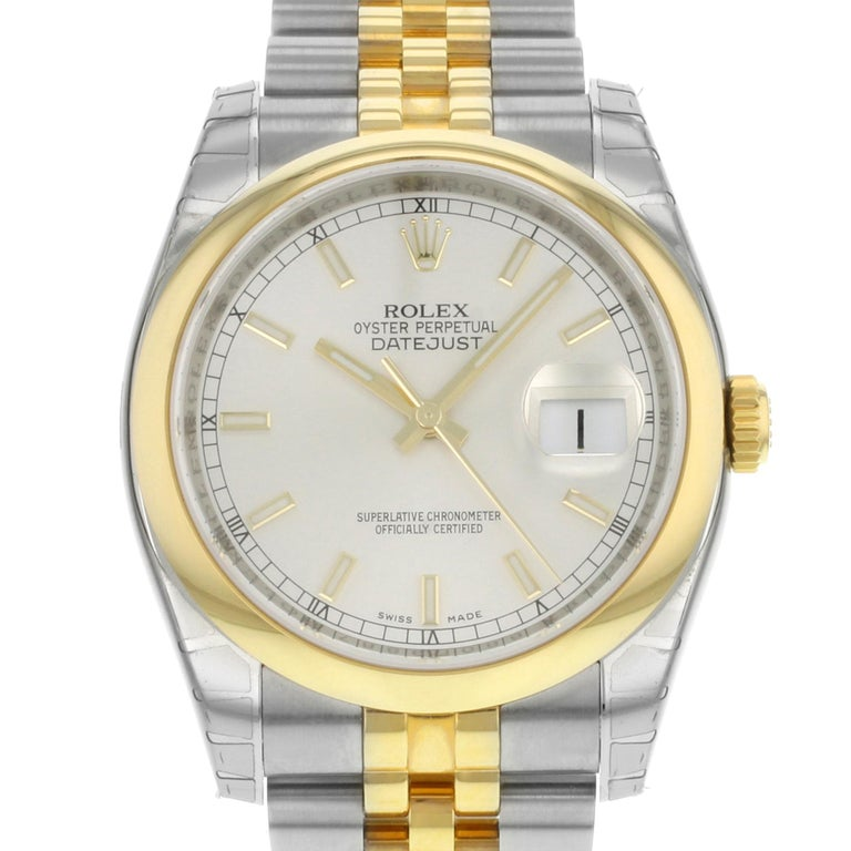 This display model Rolex Datejust  116203 SSJ is a beautiful men's timepiece that is powered by mechanical (automatic) movement which is cased in a stainless steel case. It has a round shape face, date indicator dial and has hand sticks style