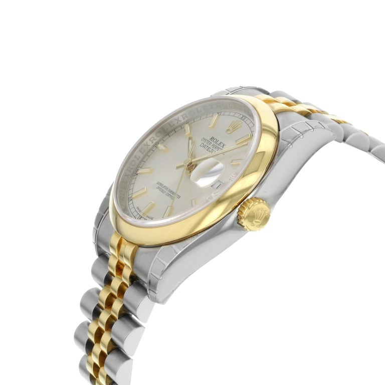 Rolex Datejust 116203 SSJ Steel 18K Yellow Gold Silver Dial Automatic Mens Watch In New Condition For Sale In New York, NY