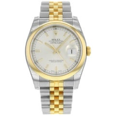 Rolex Datejust 116203 SSJ Steel 18K Yellow Gold Silver Dial Automatic Mens Watch