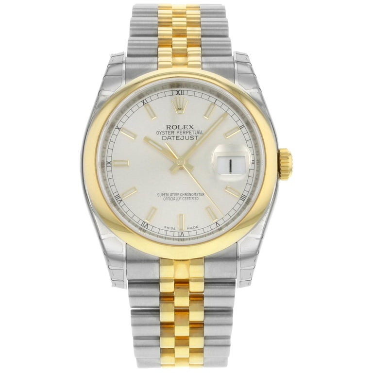 Rolex Datejust 116203 SSJ Steel 18K Yellow Gold Silver Dial Automatic Mens Watch For Sale