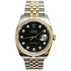 Rolex Datejust 116233 Black Diamond Dial 18 Karat Yellow Gold Stainless Steel