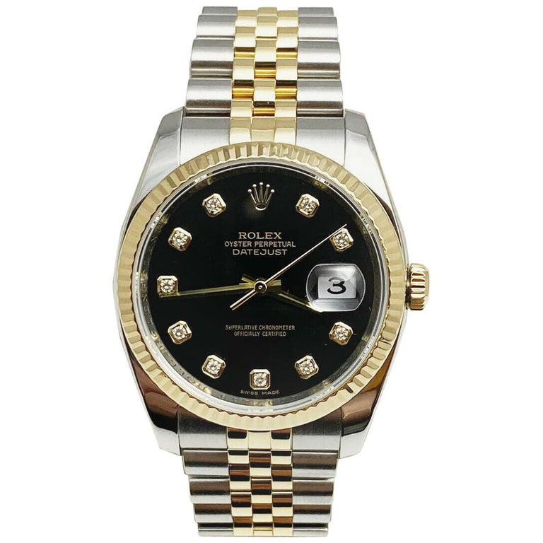 Rolex Datejust 116233 Black Diamond Dial 18 Karat Yellow Gold Stainless Steel For Sale