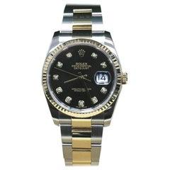Rolex Datejust 116233 Black Diamond Dial 18 Karat Gold and Stainless Steel, 2015