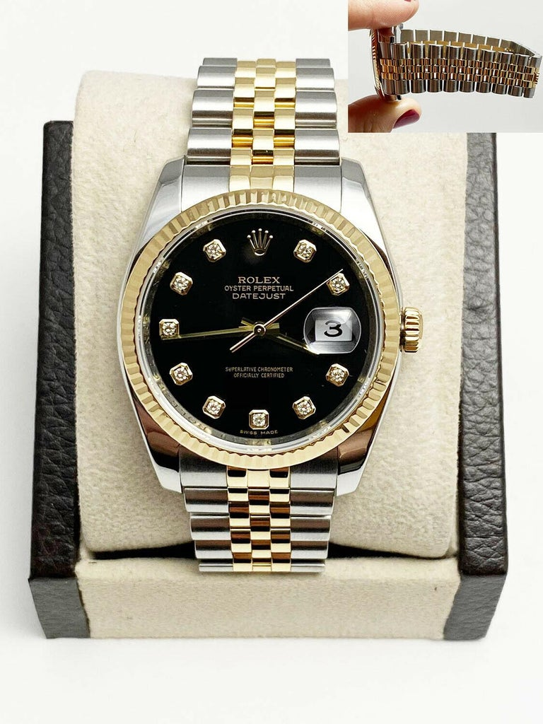 Style Number: 116233     Serial: Z007***   Year: 2007     Model: Datejust     Case Material: Stainless Steel     Band: 18K Yellow Gold & Stainless Steel      Bezel:  18K Yellow Gold Fluted Bezel     Dial: Original Factory Diamond Dial      Face: