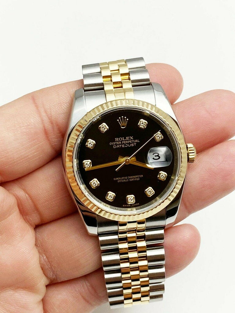 Men's Rolex Datejust 116233 Black Diamond Dial 18 Karat Yellow Gold Stainless Steel For Sale
