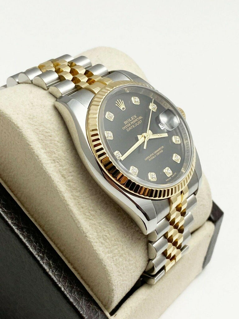 Rolex Datejust 116233 Black Diamond Dial 18 Karat Yellow Gold Stainless Steel For Sale 2