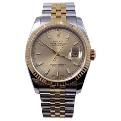 Rolex Datejust 116233 Champagne 18 Karat Gold Stainless Steel Box Paper, 2007
