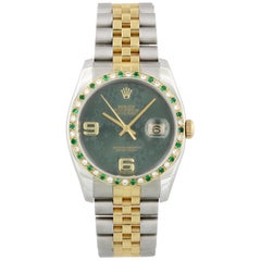 Rolex Datejust 116233 Green Floral Dial Diamond Bezel Men's Watch