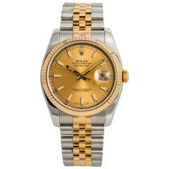 Rolex Datejust 116233 Men's Automatic Watch Champagne Dial 18 Karat Two Tone