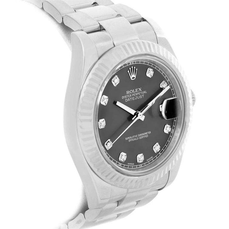 Rolex Datejust II Reference #:116334. Rolex Datejust 116334 Mens Automatic Watch Rhodium Dial With Box & Papers. Verified and Certified by WatchFacts. 1 year warranty offered by WatchFacts.