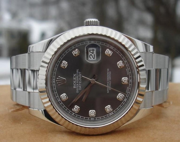 Rolex Datejust 116334 Men's Automatic Watch Rhodium Dial with Box and Papers In New Condition In Miami, FL