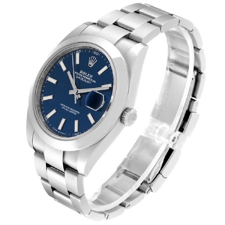Modern Rolex Datejust 126300 New 2020 Blue Dial Men's Watch Box&P For Sale