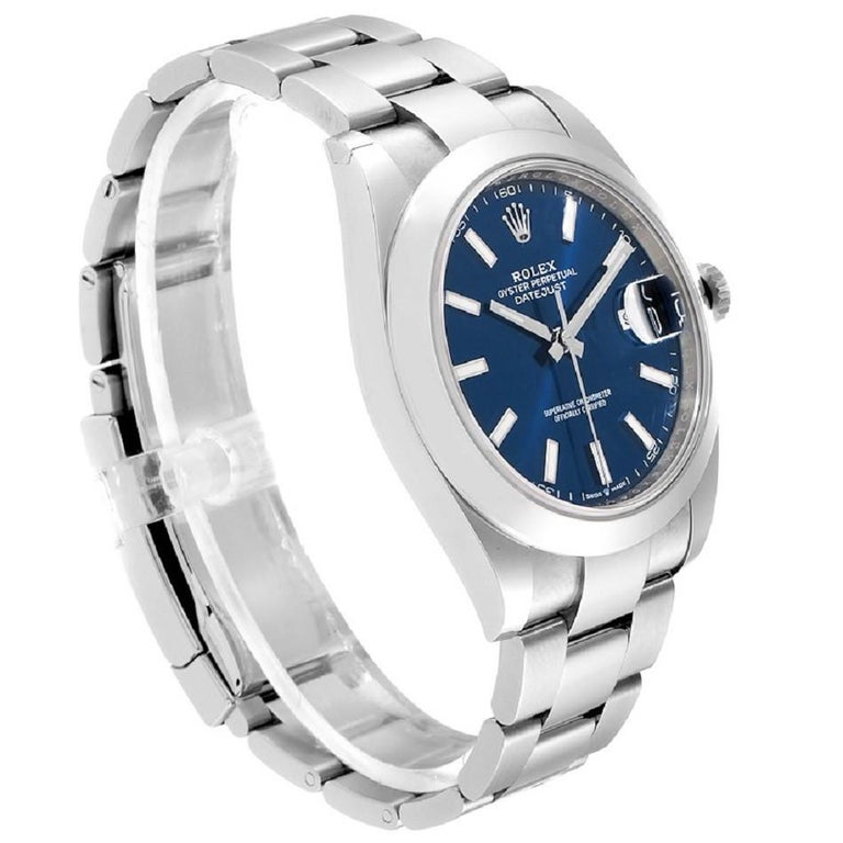 Rolex Datejust 126300 New 2020 Blue Dial Men's Watch Box&P In Excellent Condition For Sale In Miami, FL