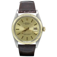 Rolex Datejust 1601 14 Karat Yellow Gold and Stainless Steel on Leather Band